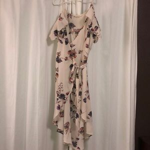 Wrap around floral cold shoulder midi summer dress